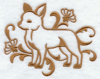 Elegant Damask  Chihuahua Embossed Style Embroidered Flour Sack Hand/Dish Towel