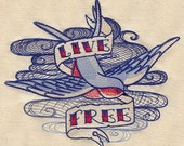 Sever Seas Live Free Embroidered Flour Sack Hand/Dish Towel