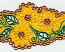 Lacy Sunflowers Embroidered Flour Sack Hand/Dish Towel