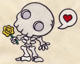 Chibi Muertos Skeleton Embroidered Flour Sack Hand/Dish Towel