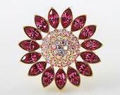 Vintage GIVENCHY brooch Fuchsia pink crystal Daisy Flower