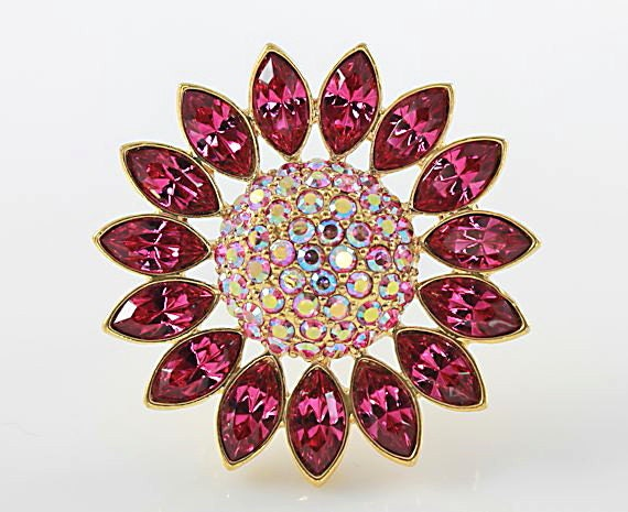 Vintage GIVENCHY brooch Fuchsia pink crystal Daisy Flower