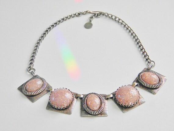 Vintage Pink Confetti Cabochon Necklace, 60s