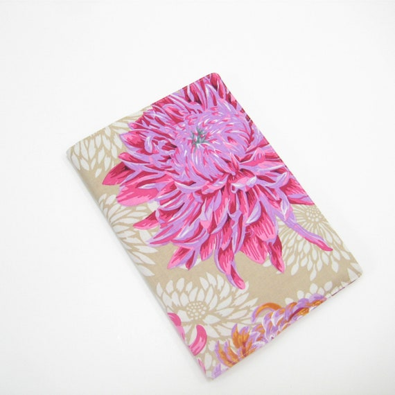2014 Diary A5 size, sand beige pink purple floral fabric cover, Holiday gift ideas for women wife mum mother her ladies