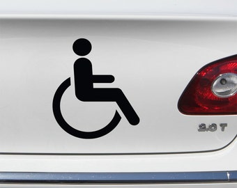 Handicapped Decal Set of 2 -  Disabled Vinyl Decal for Laptop, Car