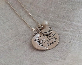 Hand Stamped Charm Jewelry Custom Personalized Sterling Silver Necklace Love you to the moon and back