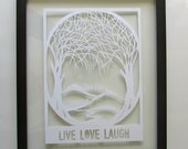 Trees Of Life 1st Anniversary Gift Silhouette Paper Cut RESERVED for Zac ORIGINAL Design in White SIGNED Wall Art HANDMADe  Framed OOaK