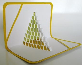 3D Pop Up CARD of  STAIRS 2 LOVE Geometric Intricate Cuts of Origamic Architecture in Yellow and White One Of A Kind