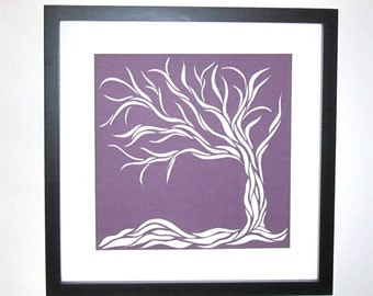 MOTHERS Day Gift Wall Art and Home Décor Purple Tree Of Life Silhouette Cutout ORIGINAL Design SIGNED Symbolic Art HandCut Framed OOaK
