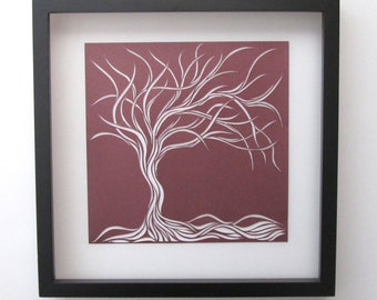 Tree Of Life Wall Art and Home Décor Gift Purple Silhouette Cutout ORIGINAL Design SIGNED Symbolic Art HandCut Framed OOaK
