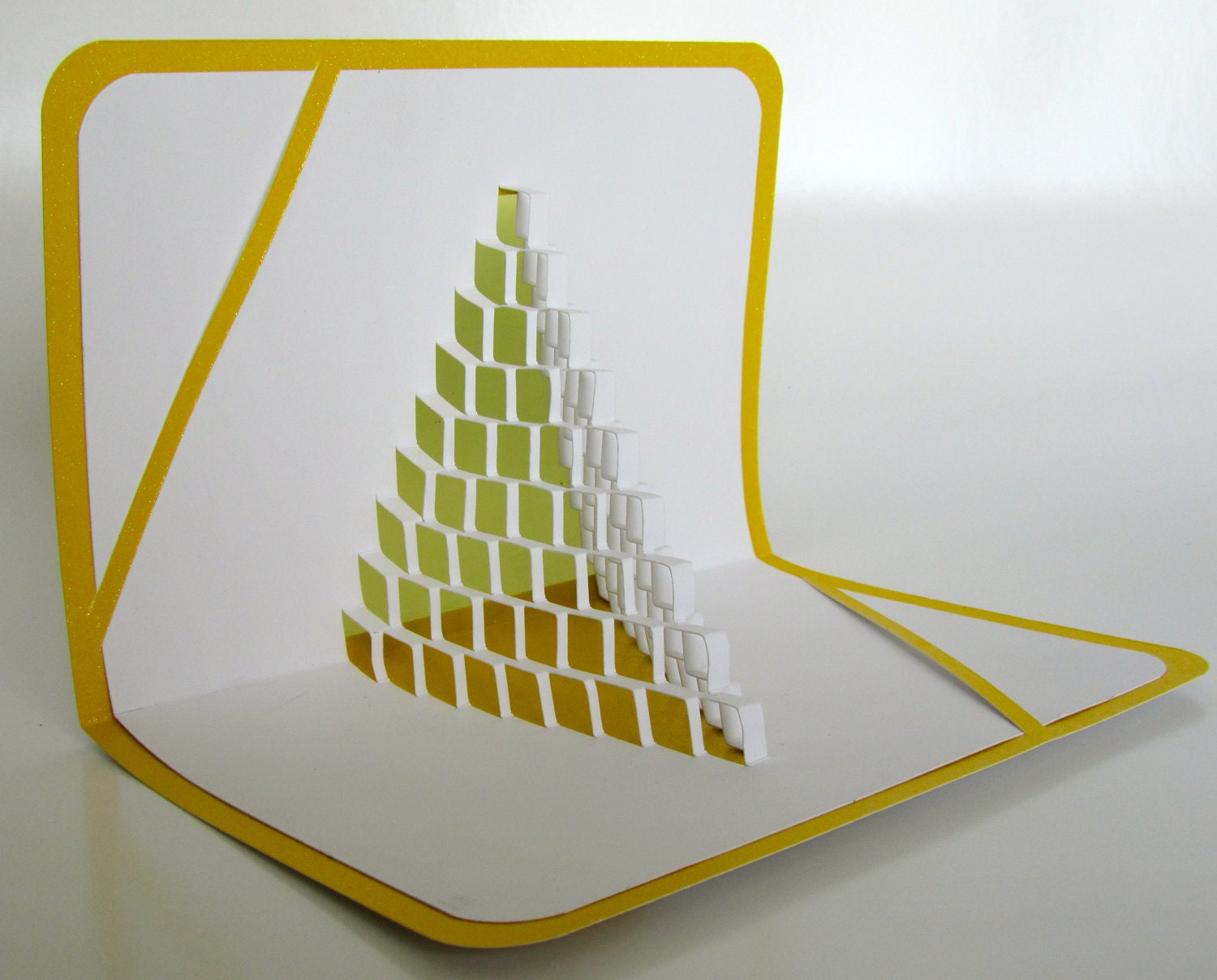 3D Pop Up CARD of STAIRS 2 LOVE Geometric Intricate Cuts of