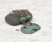 Blue Green Patina Copper Beaded Dangle Earrings, Boho Jewelry, Long Dangle Earrings, Copper Jewelry
