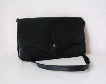 Vintage Clutch - 1980's Black Leather Clutch - 80's Bag