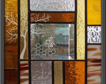 Bee Stained Glass Window Panel honeycomb tree beveled glass leaded glass
