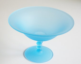 Vintage, Tiffin, Satin Compote, Frosted Glass, Sky Blue, Turquoise, Pedestal Bowl, Footed Bowl, Glass Compote, Blue Glass, Gift under 50