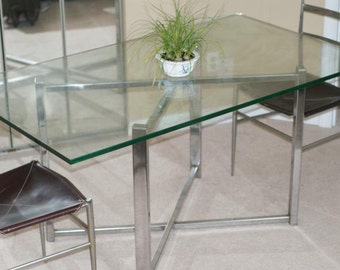 Milo Baughman Attri. Table Vintage Ludwig Mies Van de Rohe Attrib. Polished Stainless Steel.  Glass not included.