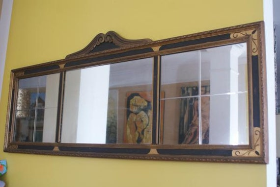 Antique 1920s Art Deco Wooden Frame Hangs Horizontal Beveled
