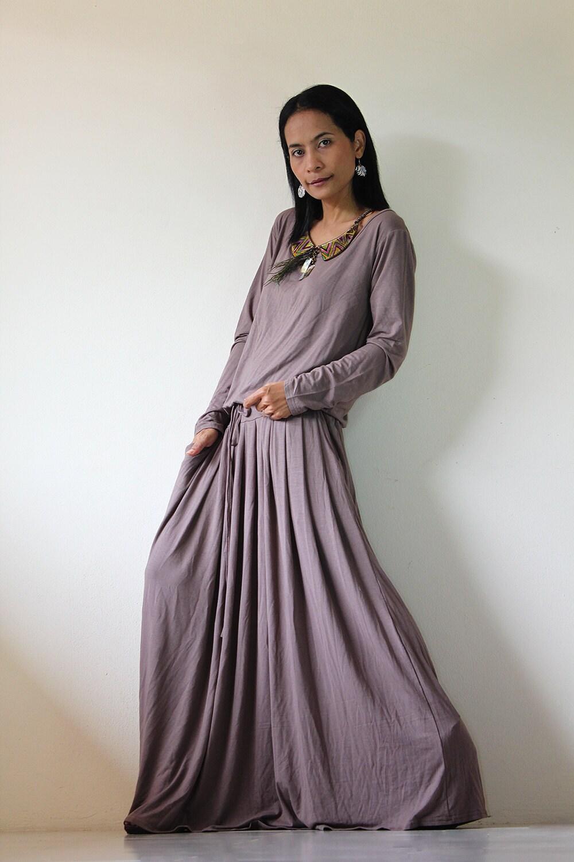Long Maxi Dress Light Brown Long Sleeve Dress Fall And