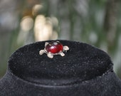 Teeny tiny turtle brooch, ruby red shell