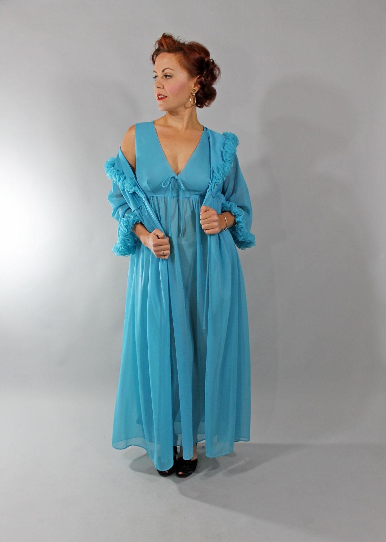 1960s Vintage Peignoir Set Blue Semi Sheer By Stutterinmama