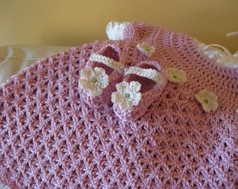 Off Pink Crocheted Baby Flower Booties