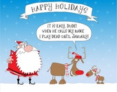 Santa and How Rudolf The Reindeer Teaches Young Reindeers To Work On Christmass Eve set of 10 5x7 flat greeting card