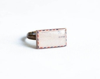 Envelope ring, adjustable novelty ring unique jewelry, handmade ring