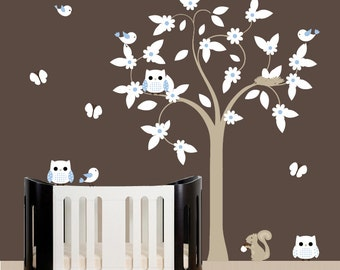 Decal birds wall tree flower decal with owls and squirrel
