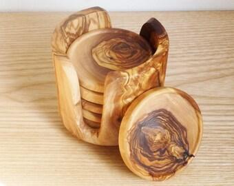 Olive Wood coaster set with holder / Wooden round coasters