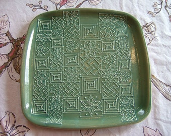 Ceramic Large Square Tray / Serving Plate - Bluegreen
