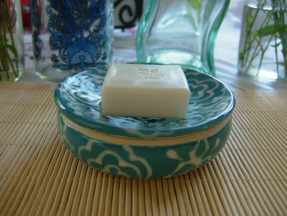 Thrown Soap Dish with a drain hole - Turquoise Flower C pattern