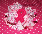 Awareness Pink Ribbon Digital  Bow Center Embroidery  Machine Applique Design