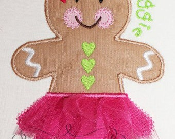 Christmas Tutu Gingerbread Girl  Digital Embroidery Design Machine Applique