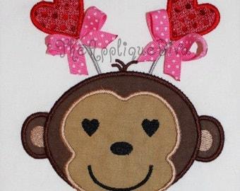 Valentine's Day Love Monkey Embroidery Design Machine Applique