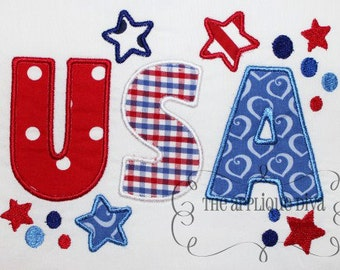 4th of July USA Embroidery Design Applique