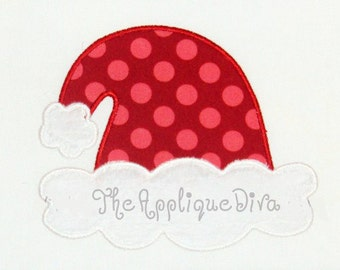 Christmas Santa Hat Embroidery Design Machine Applique