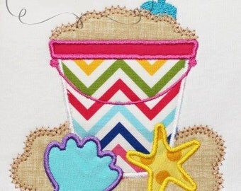 Summer Beach Sand Pail with Shells Embroidery Design Machine Applique
