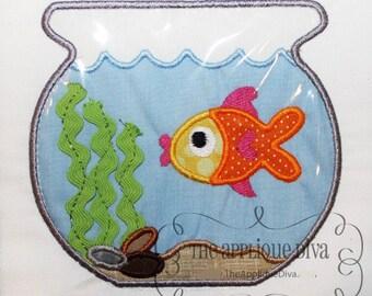Fish Bowl  Embroidery Design Machine Applique