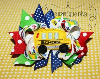 School Bus Hair Bow Center Embroidery Design Machine Applique