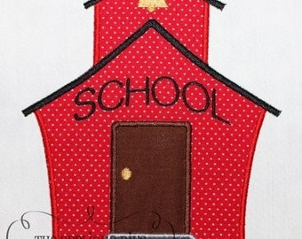 Back to School School House Embroidery Design Machine Applique