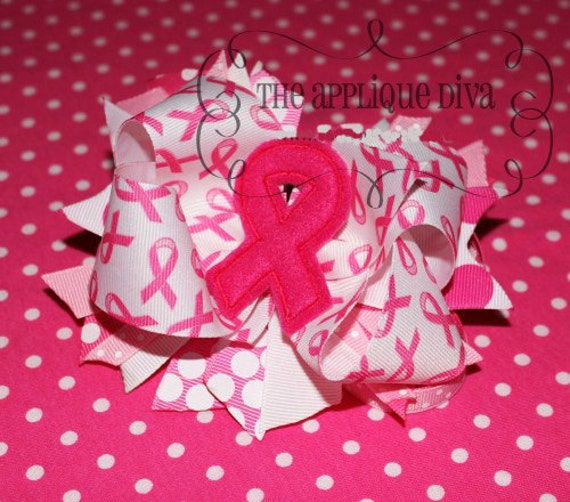 Awareness Pink Ribbon Digital  Bow Center Embroidery  Machine Applique Design