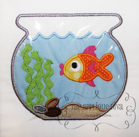 Fish Bowl Embroidery Design
