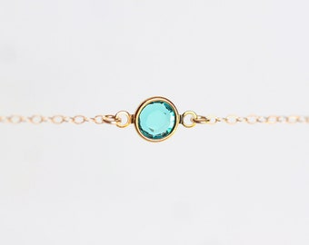 Simple Everyday Necklace - teal green crystal 14 karat gold filled jewelry by petitor