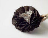 Fabric flower pin, Fabric Flower brooch, brown color, fabric flower, Ready to ship, shipping included, Free shipping