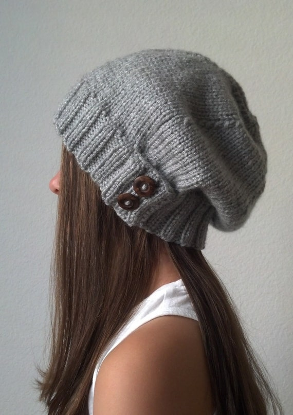 Knit slouchy hat with button/s - HEATHER GRAY (more colors available - made to order)