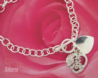 "Quinceanera Bracelet 15 Anos Charm in Sterling Silver  7"" - Quinceanera Gift"