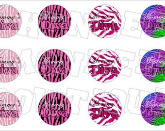 Mommy's Diva bottlecap image sheet zebra pink black