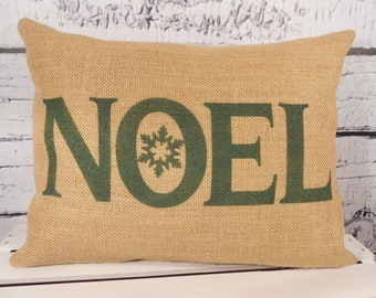 NOEL Christmas burlap pillow - your choice of lettering color - Noel with snowflake