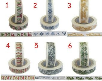 Christmas & Winter Themed Washi Deco Tape 10m long 15mm tall Noel Snowflake Stocking Holly Yellow Black Blue Red Green
