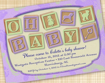 baby shower invitations, lavender baby shower invitations, baby girl shower invitations, purple baby shower invitations, diaper derby invite